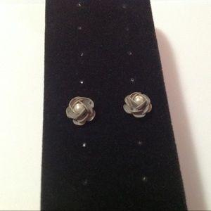 Gray Metal Pearl Stud Earrings